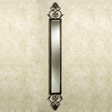 Taneisha Scroll Aged Brown Wall Mirror Panel Lighted
