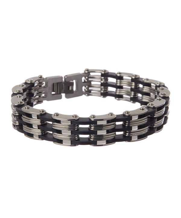 Look at this Stainless Steel & Black Link Bracelet on #zulily today!