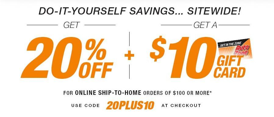 Get 20 Off Plus A 10 Gift Card From Autozone Coding Promo