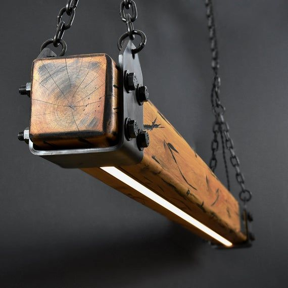 Wood Beam LED Pendant Light No.2 | Industrial Wood Pendant | Linear Lighting | Remote Controlled Dimmer