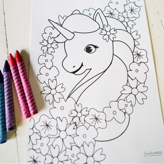 Unicorn Birthday Party Activity Unicorn Coloring In Page Rainbow Labels Instant Downl Unicorn Party Invites Unicorn Party Favors Unicorn Birthday Parties