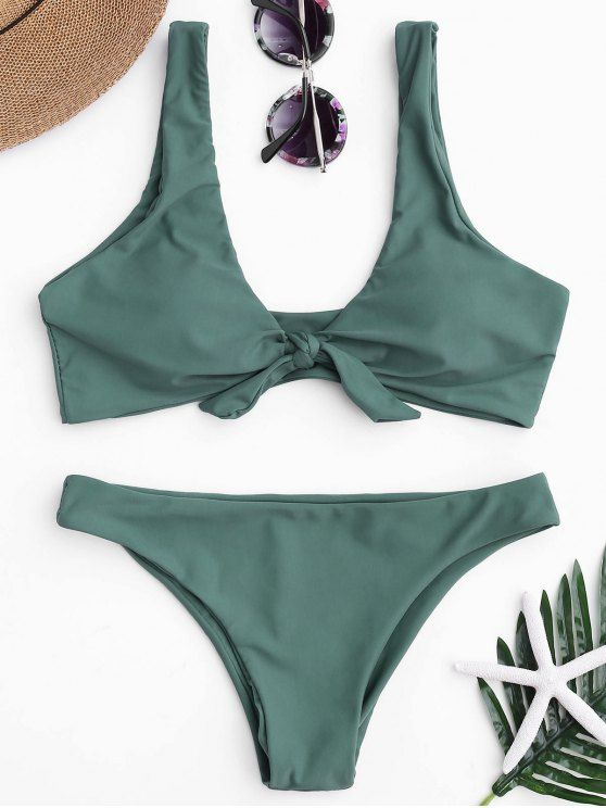 5c75e95dfacd8 $12.99 Knotted Scoop Bikini Top and Bottoms zaful,bathing suit,swimsuits,summer,cute,beach  weekend packing,women fashion,summer outfits,one pieces,swimwear ...