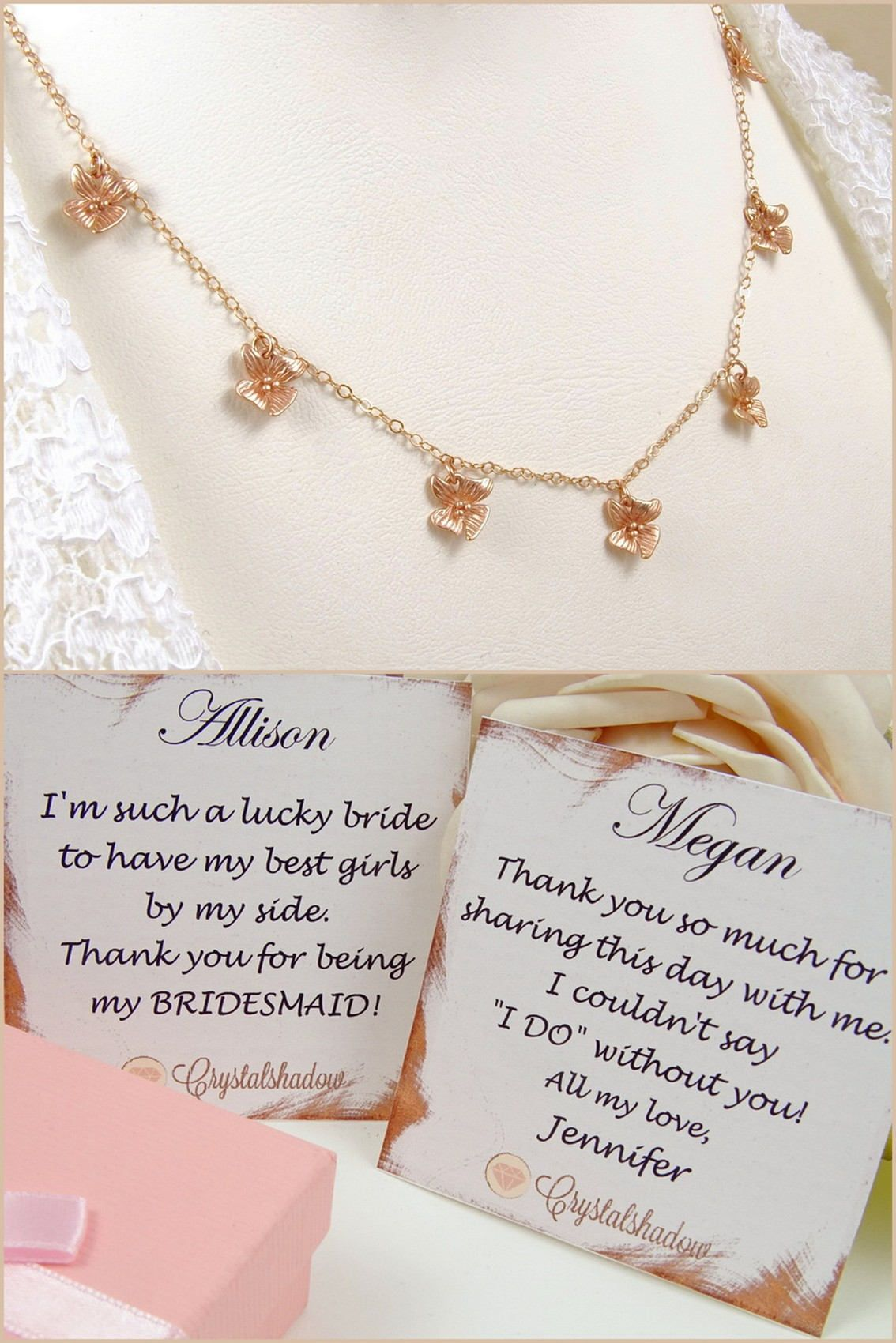 Rose Gold Necklace Dainty Tiny Orchids Multi Charm Necklace Perfect Gift Ideas For Her Https Www Etsy Crystal Necklace Pendant Dating Anniversary Gifts