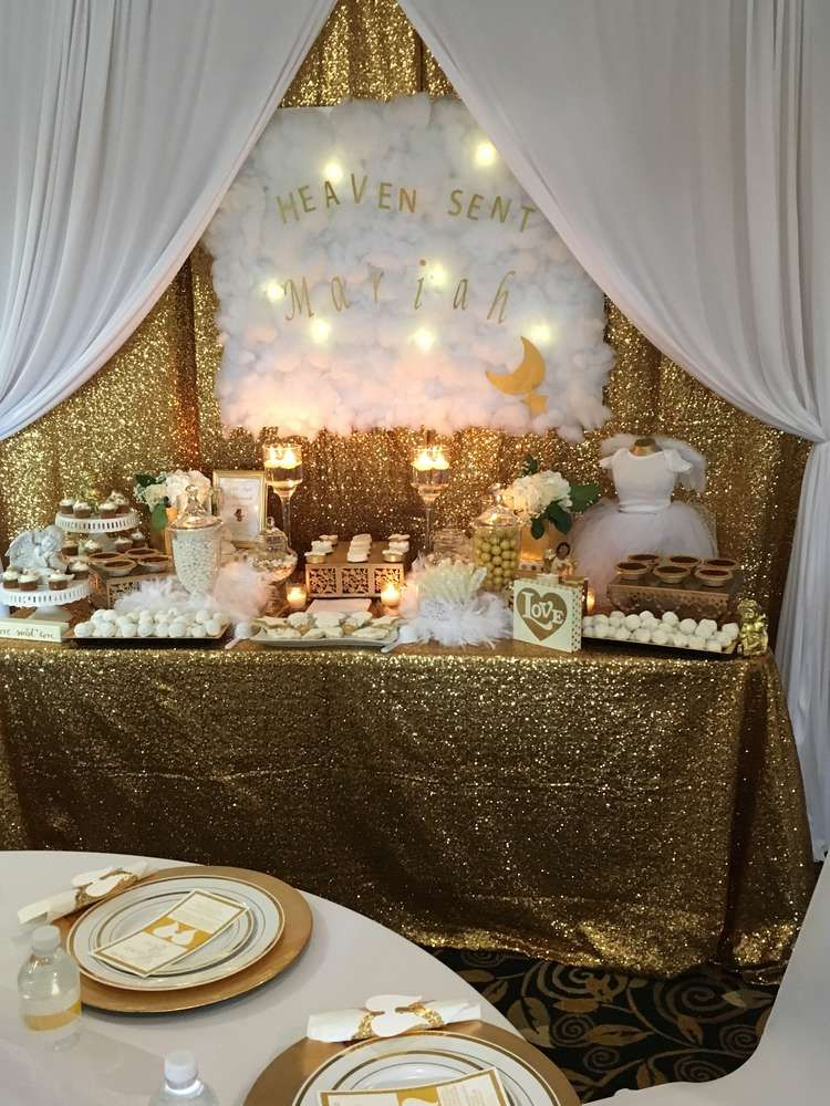 Baby Shower Themes Gold ~ Heaven sent baby shower party ideas gold showers