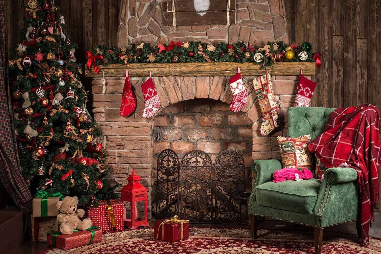 Christmas Interior Decorated With Green Chair Photography Backdrop J 0803 Christmas Tree And Fireplace Christmas Interiors Christmas Backdrops