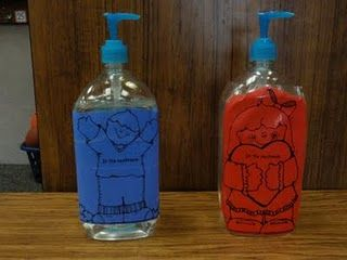 Take The Printables And Tape Them To Giant Bottles Of Hand