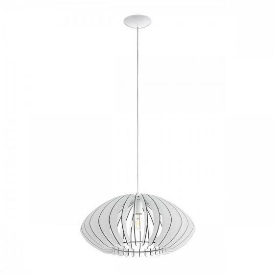 Eglo Cossano Steel White Wood 1 Light Pendant Oval New