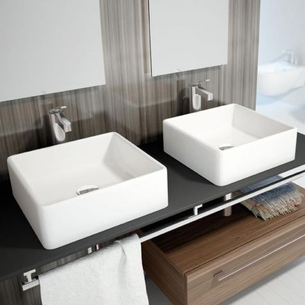 Vasque à poser carrée 38x38 cm, céramique, Vigo Interiors and House