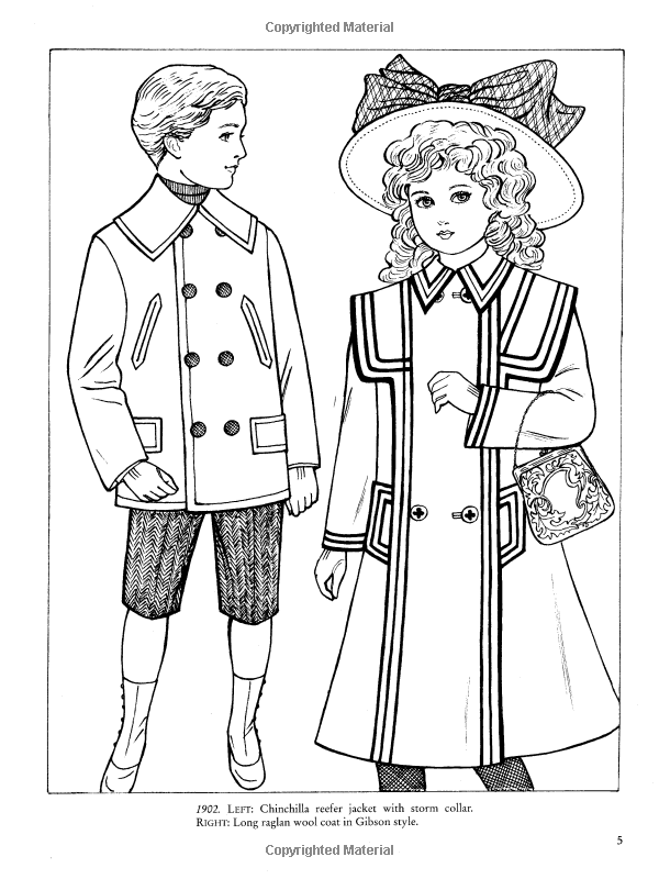 Old Time Childrens Fashions Coloring Book Dover Fashion Ming