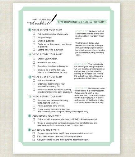 party planner checklist