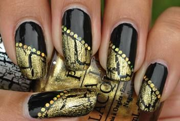 Black Onyx, with OPI Gold Shatter, and gold hex glitter.