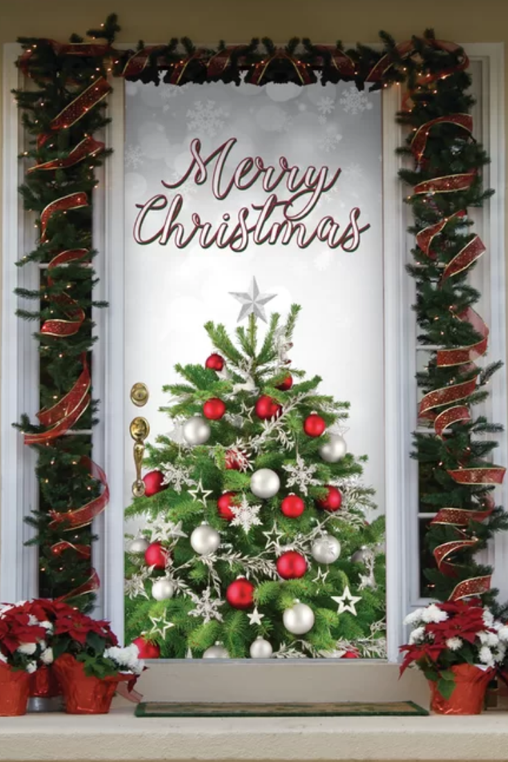 Christmas Door Decorations For Work And Home #christmasdoordecorationsforwork