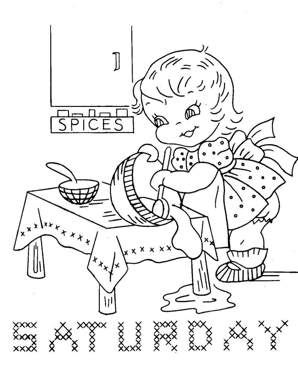 7187 Busy Children for Days of the Week towels PDF by BlondiesSpot ...
