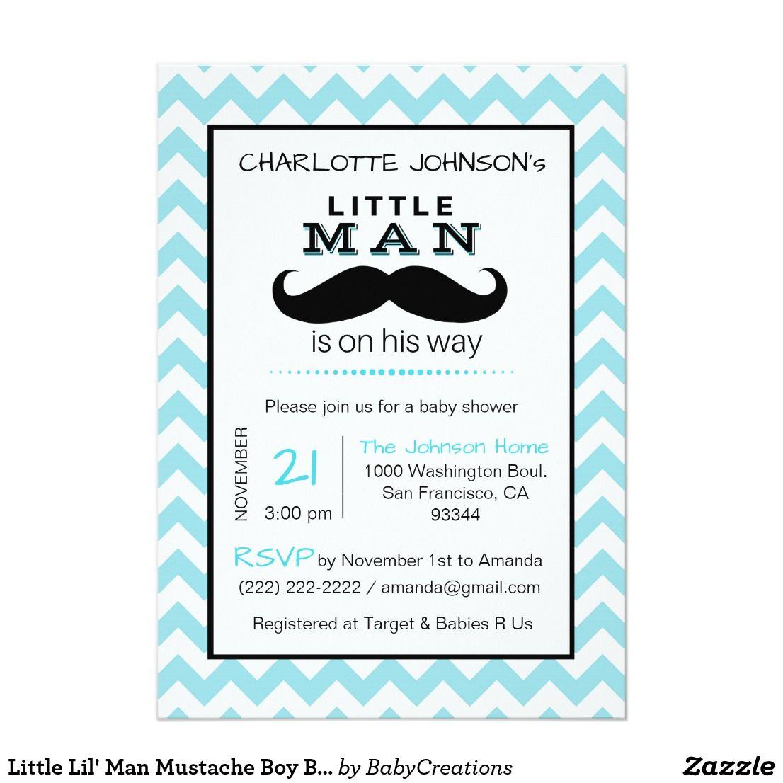 Little lil man mustache boy blue baby shower card shower invitations little lil man mustache boy blue baby shower card filmwisefo Choice Image