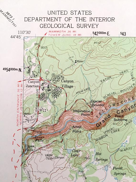 Topographic Map Of Yellowstone.Antique Canyon Village Wyoming 1959 Us Geological Survey