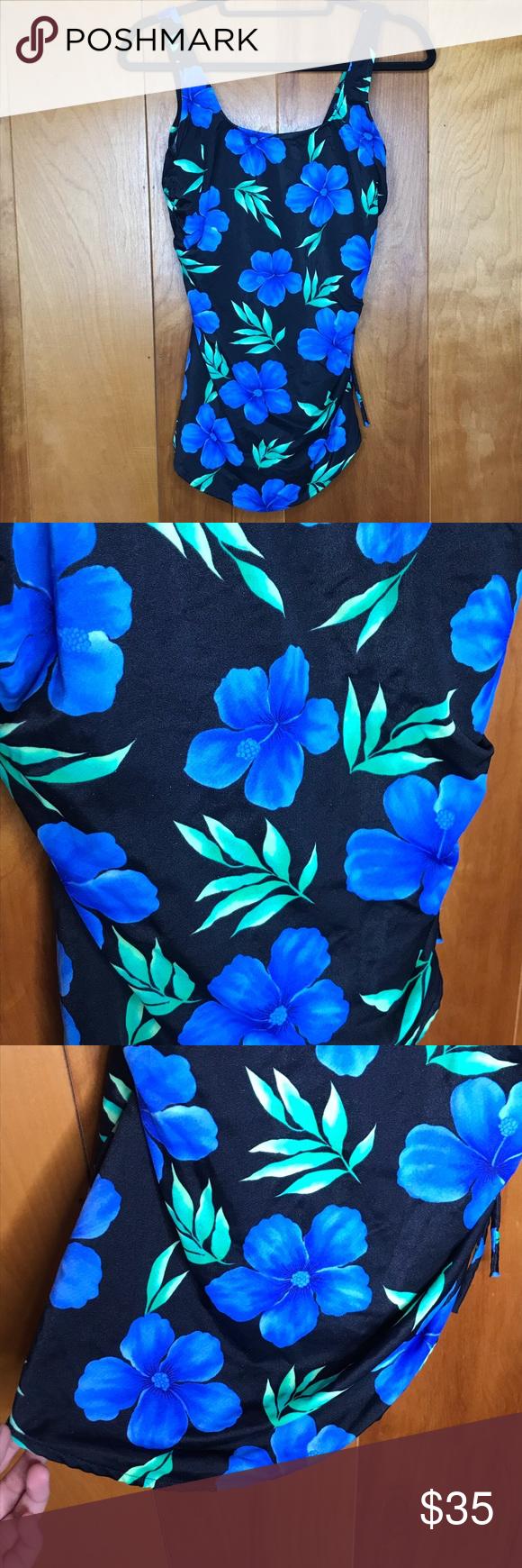 eb127a8fd0d VTG Black & Blue Hibiscus Tropical Swim Dress Gorgeous vintage black swim  dress with a blue