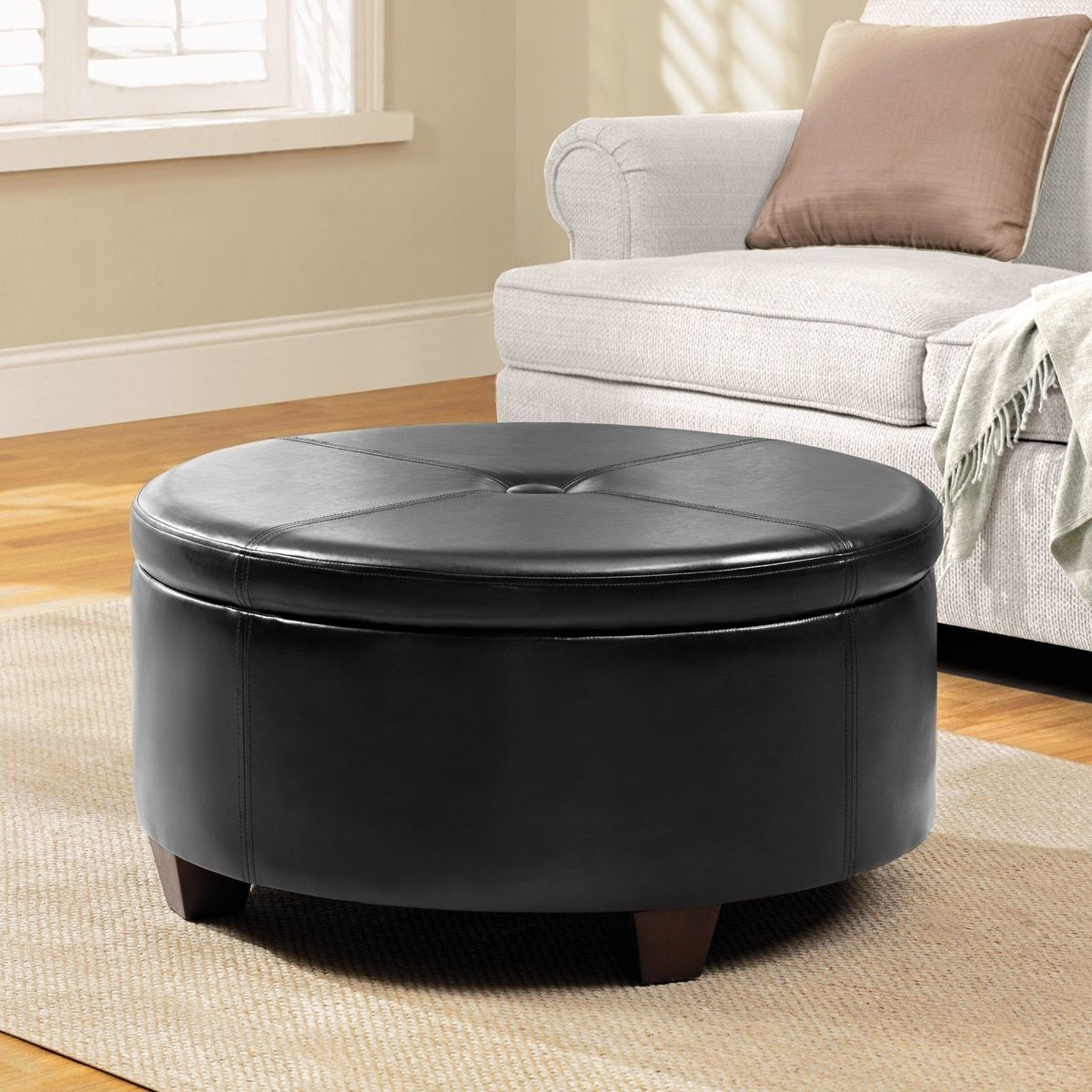Homepop Winston Large Round On Top Storage Ottoman Black Faux Leather