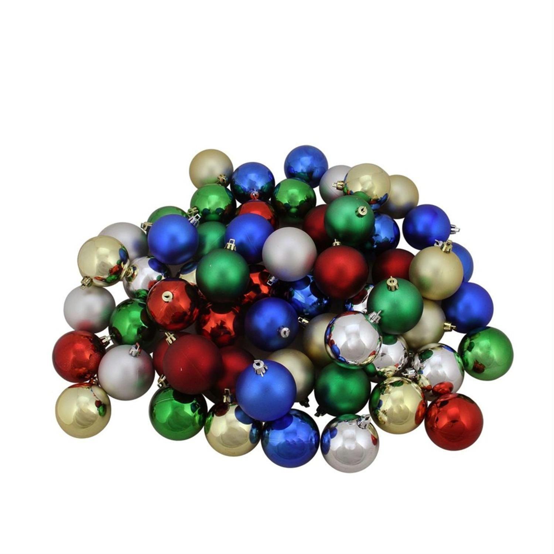 60Ct Traditional Multi Color Shiny & Matte Shatterproof Christmas Ball Ornaments