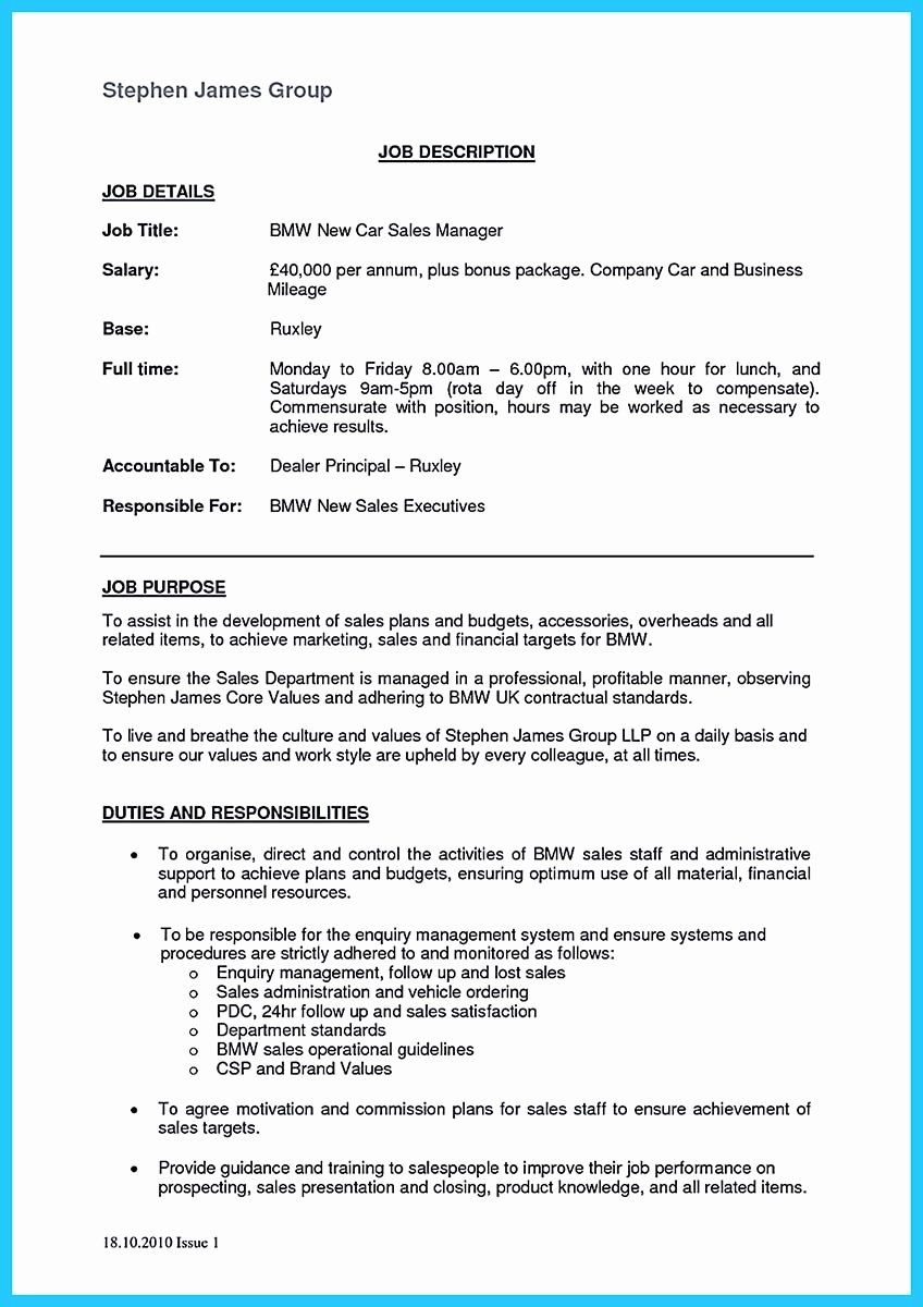 Automotive Sales Manager Resume Elegant Special Car Sales