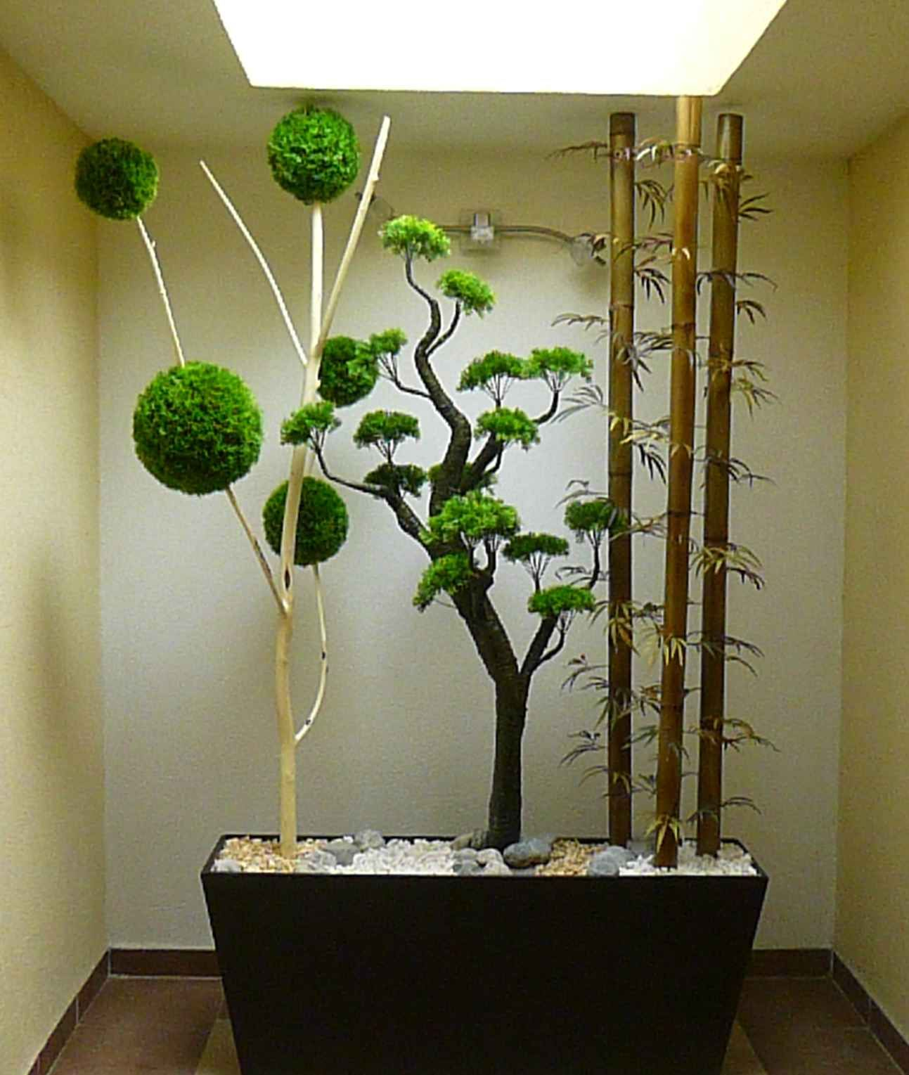 Jardinera horizontal con decoraci n de bonsai rbol de for Plantas de interior artificiales