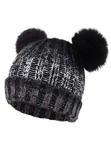 6f21b37ac9a Arctic Paw Adults Cable Knit Faux Fur Pompom Beanie Hat Mix Black     Find  out more about the great product at the image link. (This is an affiliate  link)
