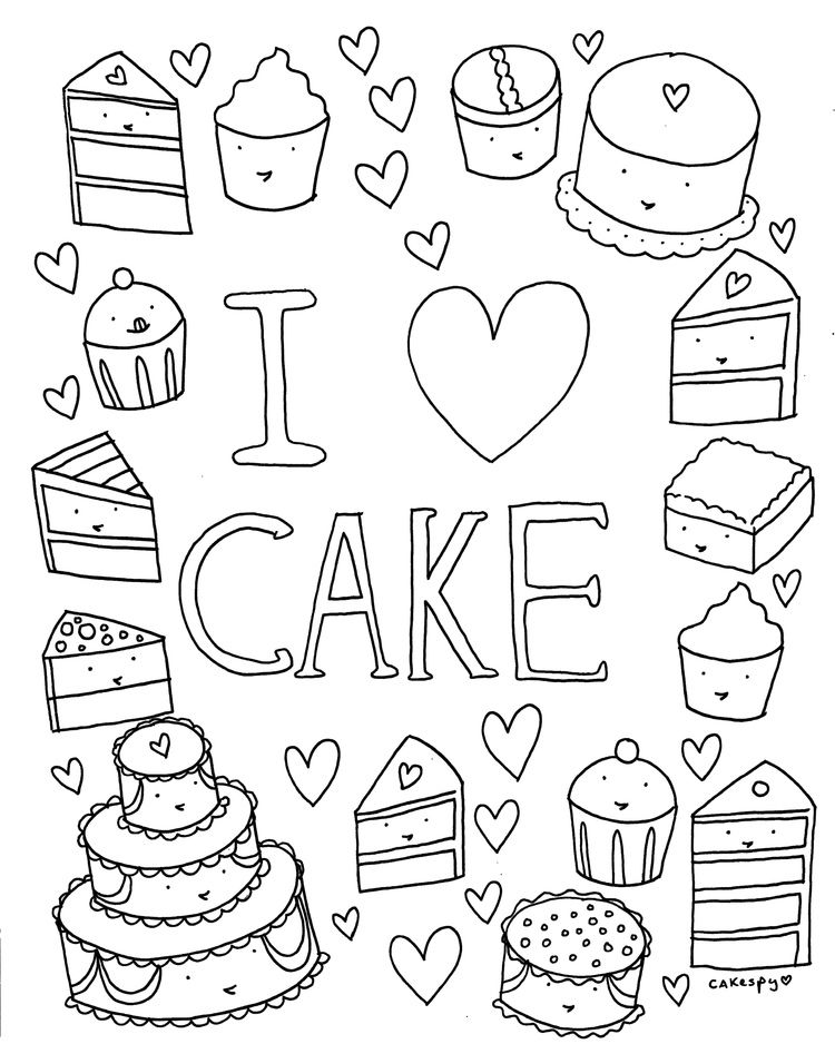 Free Coloring Book Page I Love Cake Jessie Unicorn Moore Valentine Coloring Pages Coloring Books Coloring Book Pages