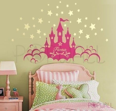 Art Children Wall Decals Wall Sticker Kids Decal   Princess Castle With  Name Kids Decal   Part 48