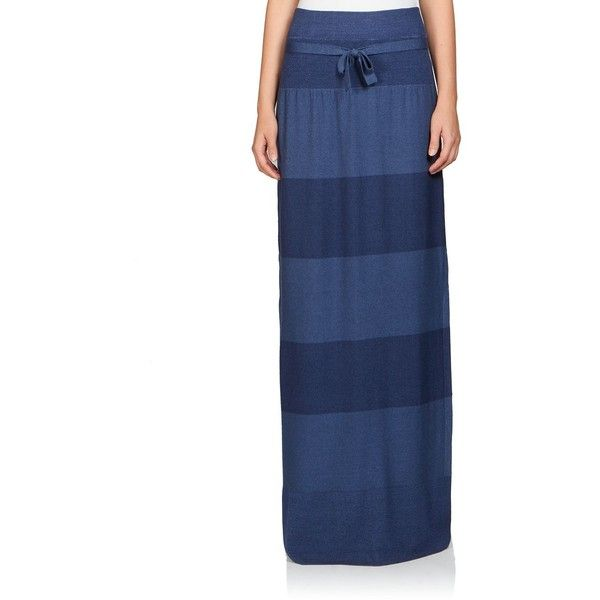 Sonia Rykiel Long Silk & Wool Stripe Skirt (€725) ❤ liked on Polyvore featuring skirts, apparel & accessories, blue, blue striped maxi skirt, striped maxi skirt, long skirts, stripe maxi skirt en long blue maxi skirt