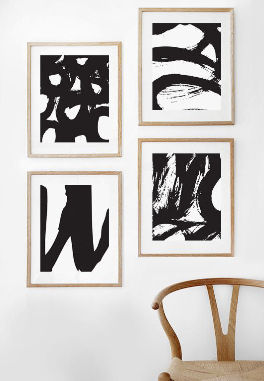 Abstract print abstract art black and white minimalist modern art digital