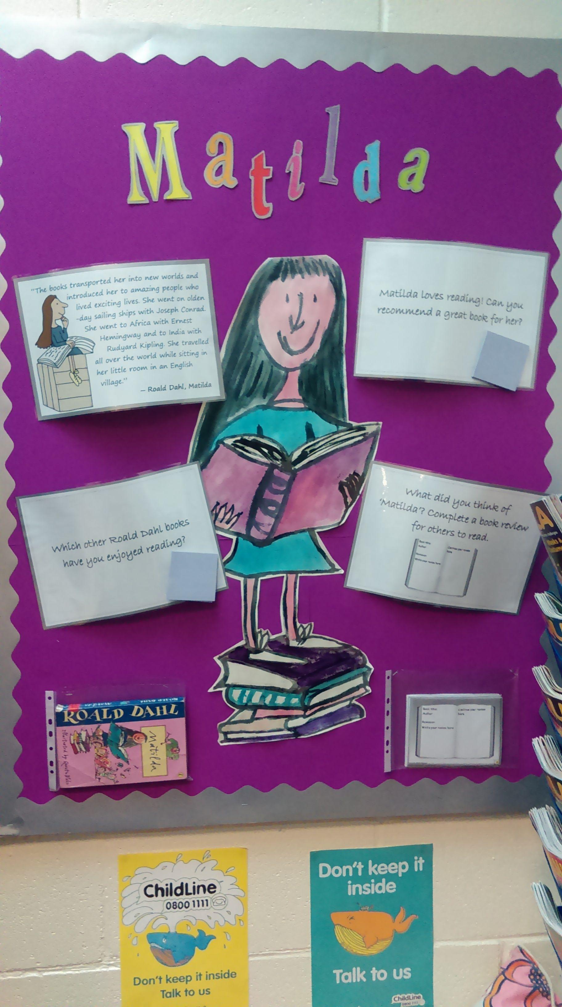 Library display based on \'Matilda\' by Roald Dahl, aimed at KS2 ...