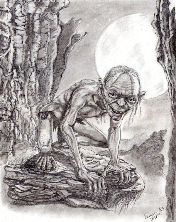 Gollum Horror Artwork Portrait Drawing Emotional Art