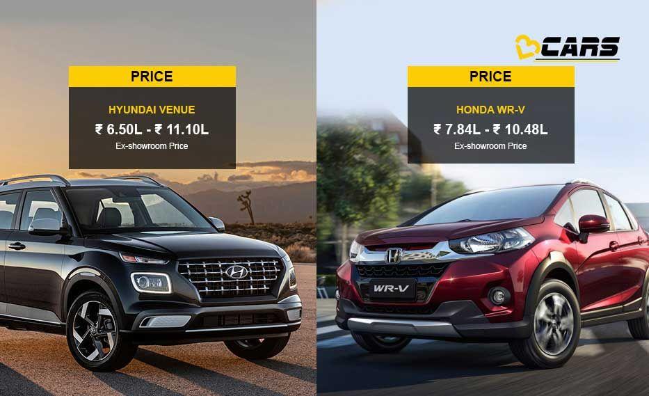 Hyundai Venue Vs Honda Wr V Price Specs Comparison Hyundai Honda New Hyundai