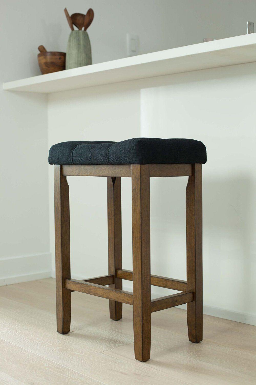 Wood Kitchen Pub Height Barstool Backless Upholstered Saddle Seat