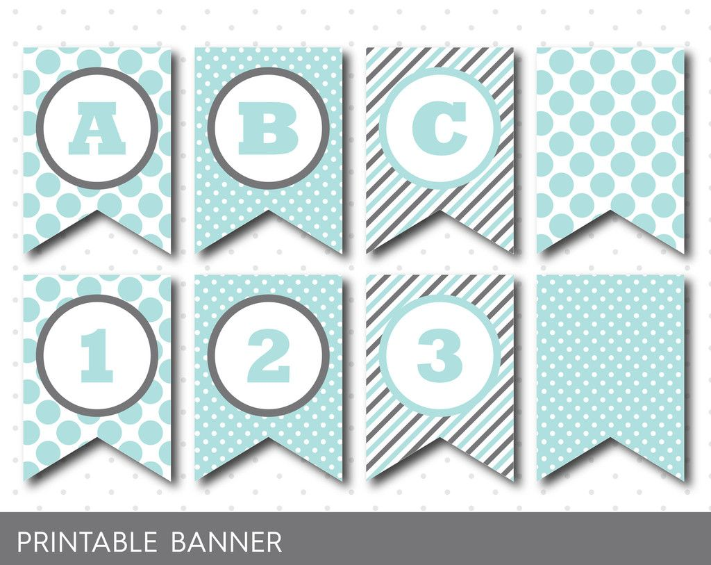 Blue Mint Banner Party Banner Birthday Banner Baby Shower Banner