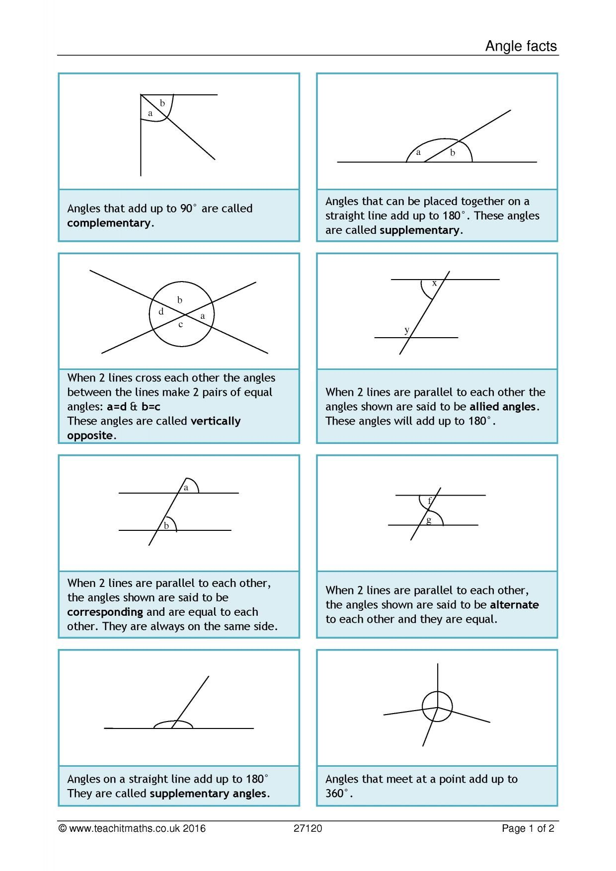 Angle Facts Angles Worksheet Relationship Worksheets Angle Relationships Worksheet [ 1754 x 1240 Pixel ]