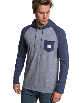 fda06a3f10 Quiksilver Men's Michi Hood Long Sleeve T-shirt - Blue 2XL ...