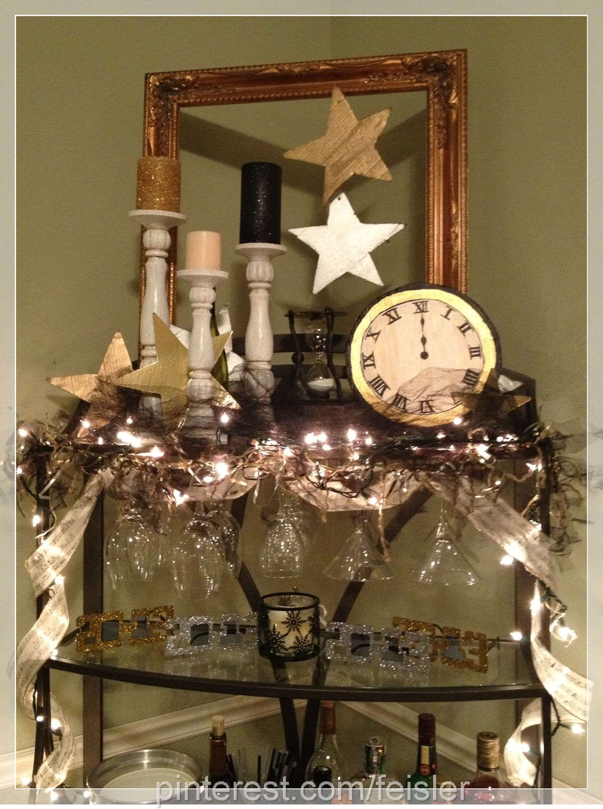 2012 2013 #Newyears #Decoration Idea  Handmade Clock And Stars