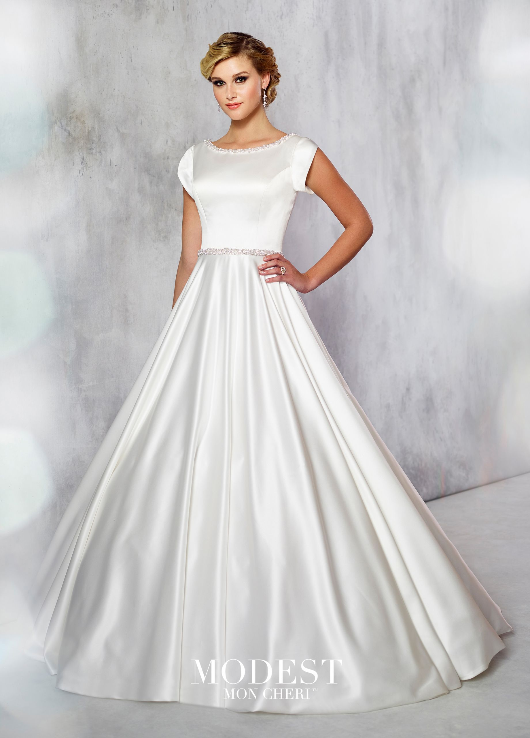 Conservative Cap Sleeve Satin Wedding Dress with Pearl Beading ...