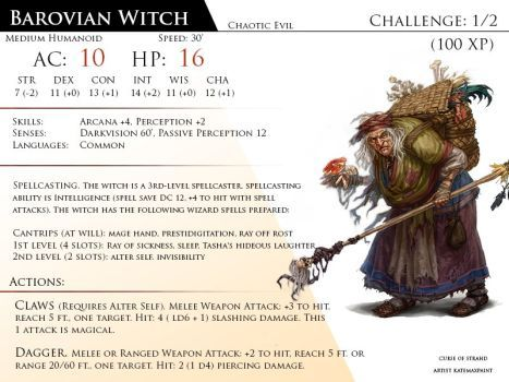 Barovian Witch By Almega 3 Dungeons And Dragons Homebrew Dnd Monsters Monster Cards