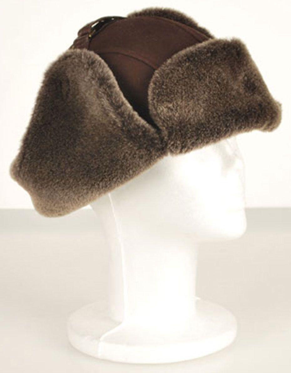 bef2e6d778b Men`s Brown Sheepskin Aviator Shearling Hat - Suede Brown - In stock - Side  View 2