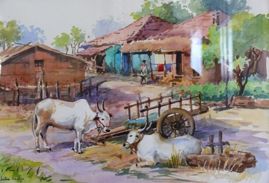 Village Scenery With Human And Animal Figure