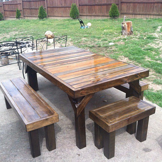 Picnic Table Multicolored Stain Epifanes Varnish Yard Design