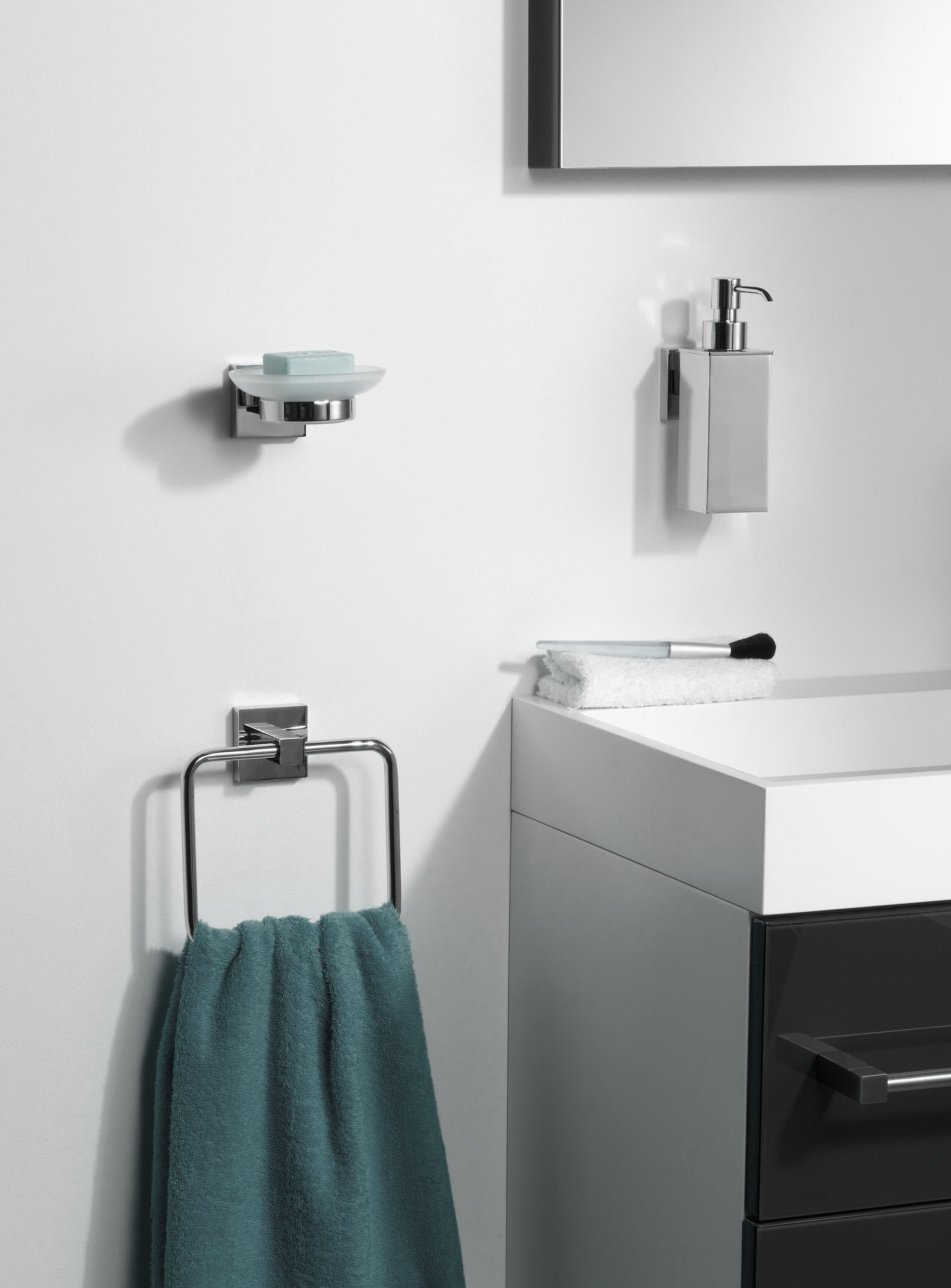 Add chrome bathroom accessories for a quick update # ...