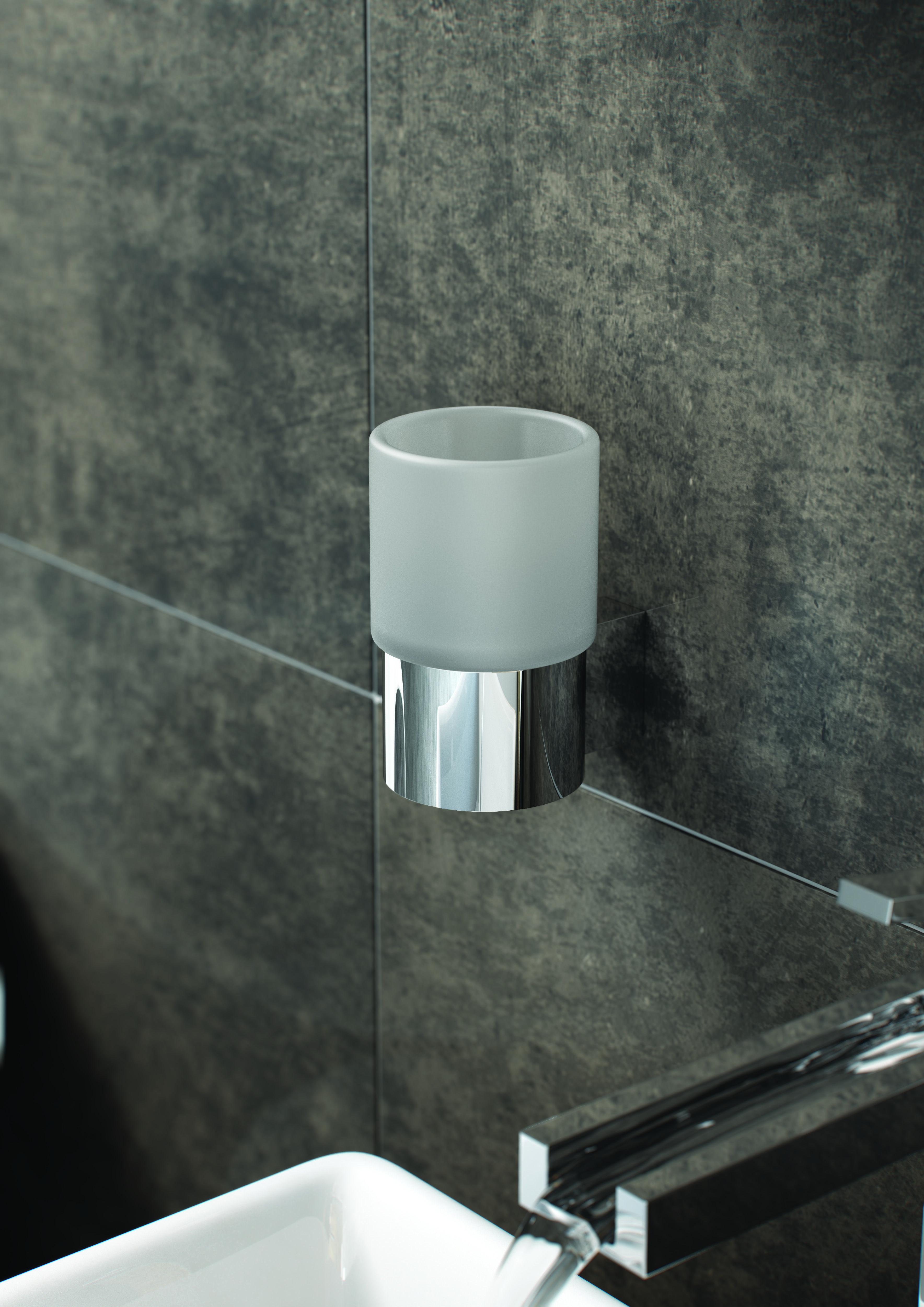 VADO Infinity, stylish, frosted glass wall mounted tumbler, store ...