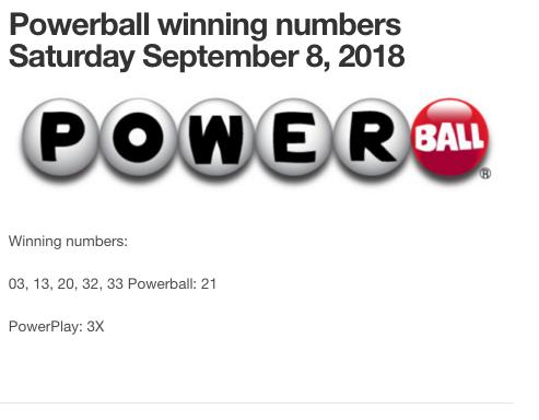 Powerball winning numbers September 8, 2018. #powerball,#lottery, #results, #winningnumbers, USA, #powerplay,#lotto,