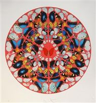 Psalm - Domine, Ne In FuroreRed Butterfly Diamond Dust by Damien Hirst