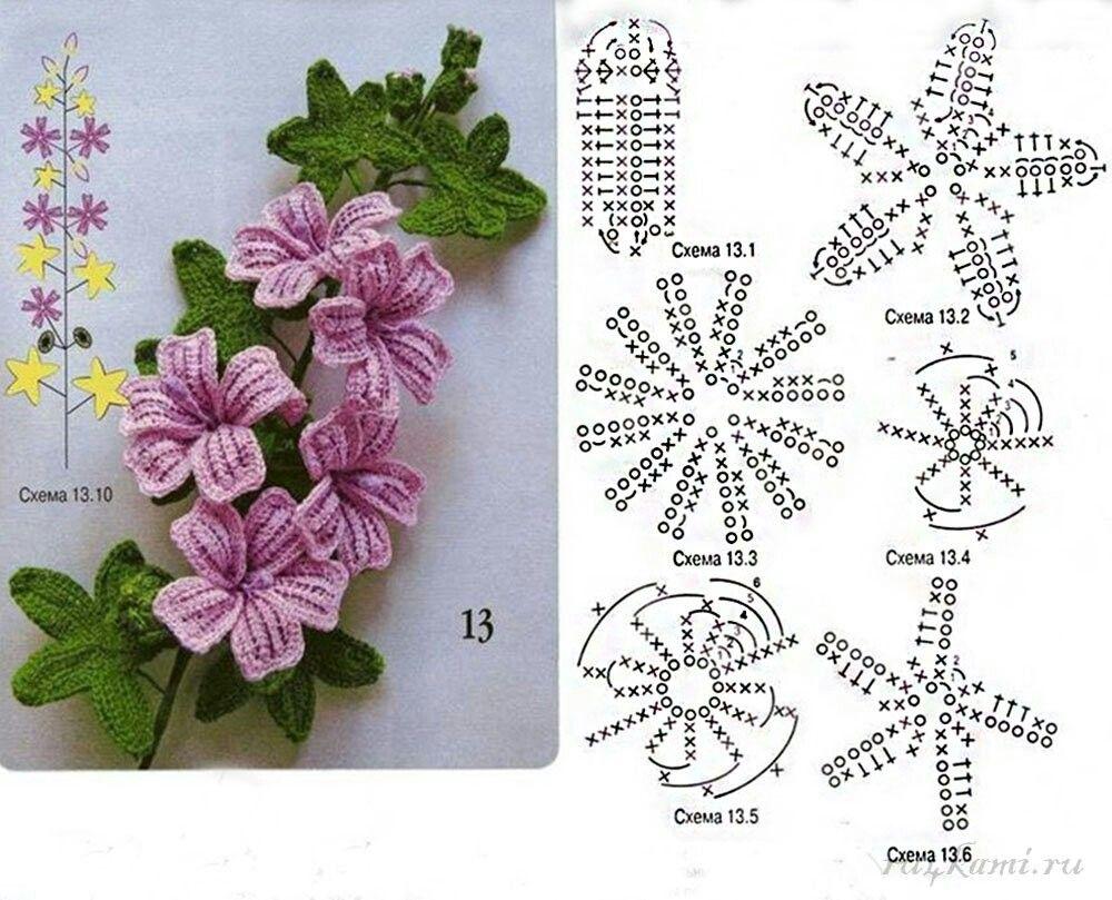 Вязание цветов крючком схемы в картинках