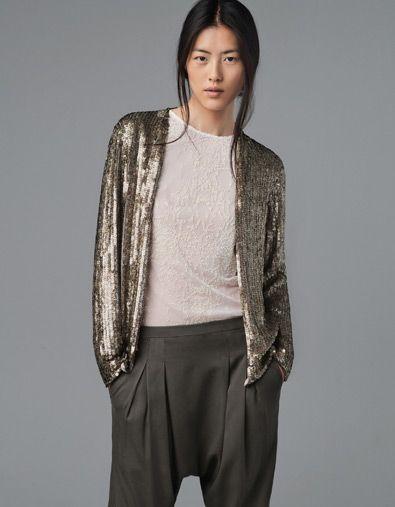 Zara Printed Sequined Cardigan