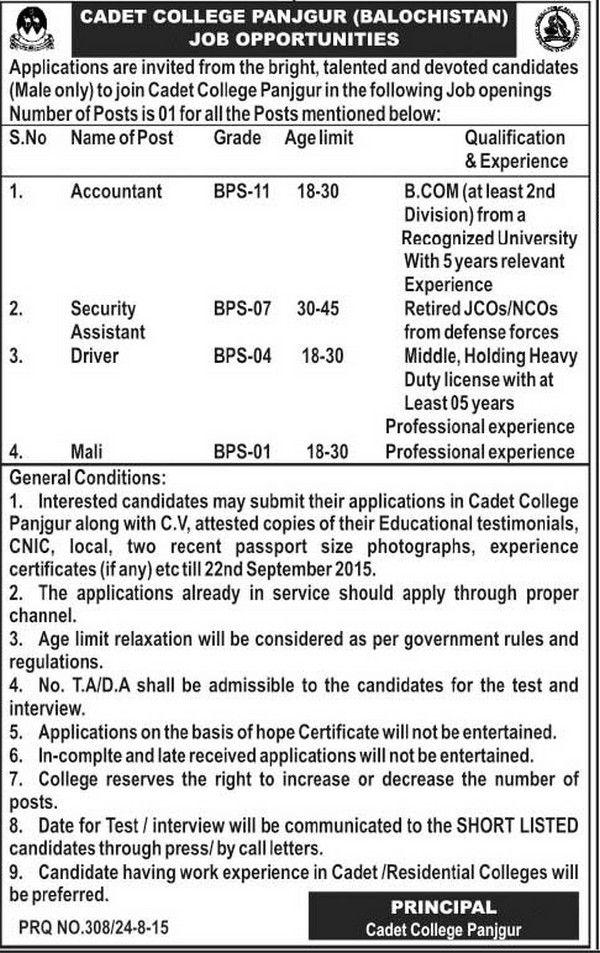 Jobs In Cadet College Panjgur Balochistan  Education
