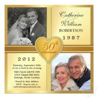 """50th Anniversary Sparkle Heart Photo Invitations Glitzy gold shadowbox style square with bling heart and 2 photos -- Create your own cute but elegant 50th Wedding Anniversary Party Invitations with """"then and now"""" photos -- Customize the name, date, and details for your Golden Wedding Anniversary or any special anniversary celebration.  Please NOTE: Decorated embellishments are part of the image -- they are NOT real."""